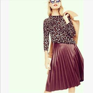 Burgundy Leather Pleated Skirt